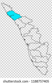 Kannur district is shown highlighted with light aqua colour in Kerala map with its name in English and Malayalam language.