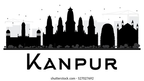 Kanpur City skyline black and white silhouette. Vector illustration. Simple flat concept for tourism presentation, banner, placard or web site. Business travel concept. Cityscape with landmarks