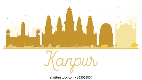Kanpur City skyline golden silhouette. Vector illustration. Simple flat concept for tourism presentation, banner, placard or web site. Business travel concept. Cityscape with landmarks.