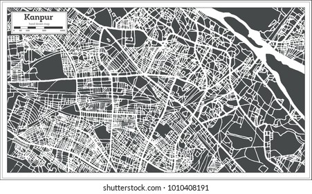 Kanpur India City Map in Retro Style. Outline Map. Vector Illustration.
