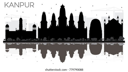 Kanpur India City skyline black and white silhouette with Reflections. Vector illustration. Business travel concept. Kanpur Cityscape with landmarks.