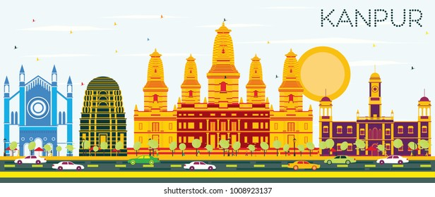 Kanpur India City Skyline with Color Buildings and Blue Sky. Vector Illustration. Business Travel and Tourism Concept with Historic Architecture. Kanpur Cityscape with Landmarks.