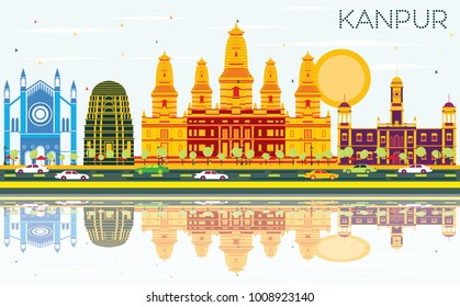 Kanpur India City Skyline with Color Buildings, Blue Sky and Reflections. Vector Illustration. Business Travel and Tourism Concept with Historic Architecture. Kanpur Cityscape with Landmarks.