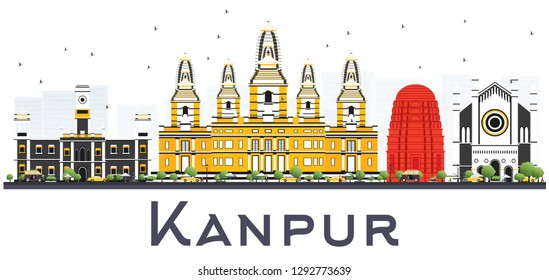 Kanpur India City Skyline with Color Buildings Isolated on White. Vector Illustration. Business Travel and Tourism Concept with Historic Architecture. Kanpur Cityscape with Landmarks.