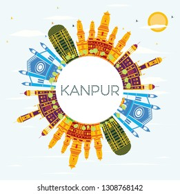 Kanpur India City Skyline with Color Buildings, Blue Sky and Copy Space. Vector Illustration. Business Travel and Tourism Concept with Historic Architecture. Kanpur Cityscape with Landmarks.