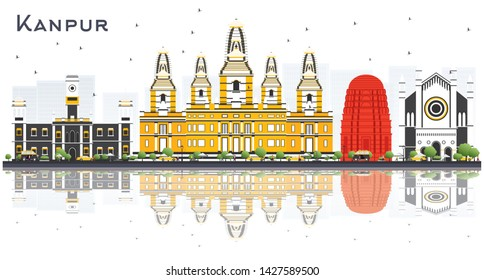 Kanpur India City Skyline with Color Buildings and Reflections Isolated on White. Vector Illustration. Business Travel and Tourism Concept with Historic Architecture. Kanpur Cityscape with Landmarks.