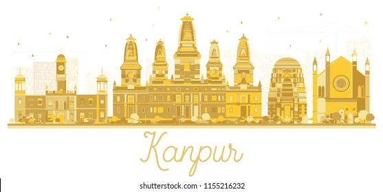 Kanpur India City Skyline Golden Silhouette. Vector Illustration. Business Travel and Tourism Concept with Modern Architecture. Kanpur Cityscape with Landmarks.