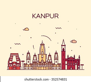 Kanpur skyline, detailed silhouette. Trendy vector illustration, linear style