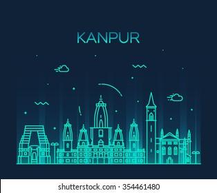 Kanpur skyline, detailed silhouette. Trendy vector illustration, linear style