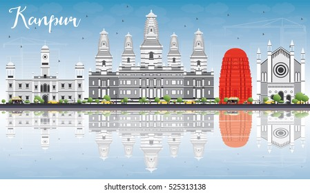 Kanpur Skyline with Gray Buildings, Blue Sky and Reflections. Vector Illustration. Business Travel and Tourism Concept with Historic Architecture. Image for Presentation Banner Placard and Web Site