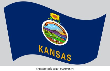 Kansan official flag, symbol. American patriotic element. USA banner. United States of America background. Flag of the US state of Kansas waving on gray background, vector