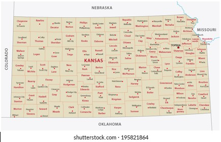 kansas administrative map