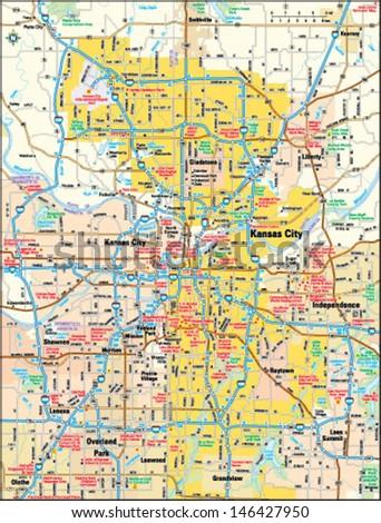 Kansas City Missouri Area Map Stock Vector (Royalty Free) 146427950 ...