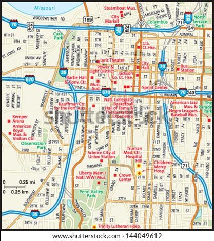 Kansas City Missouri Downtown Map Stock Vector (Royalty Free ...