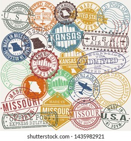 Kansas City Missouri . Set of Stamps. Travel Stamp. Made In Product. Design Seals Old Style Insignia.