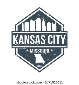 Kansas City Missouri Travel Stamp Icon Skyline City Design Tourism