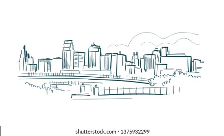 Kansas city Missouri usa America vector sketch city illustration line art