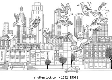 Kansas City, Missouri, USA - March 7, 2019: Birds over Kansas - hand drawn black and white illustration of the city with a flock of pigeons
