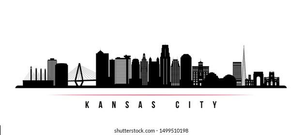 Kansas City skyline horizontal banner. Black and white silhouette of Kansas City, Missouri. Vector template for your design.