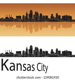 Kansas City skyline in orange background in editable vector file