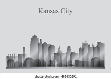 Kansas City skyline silhouette in grayscale vector illustration