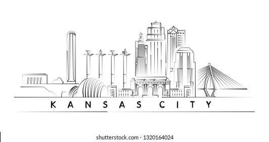 Kansas City skyline vector illustration and typography design