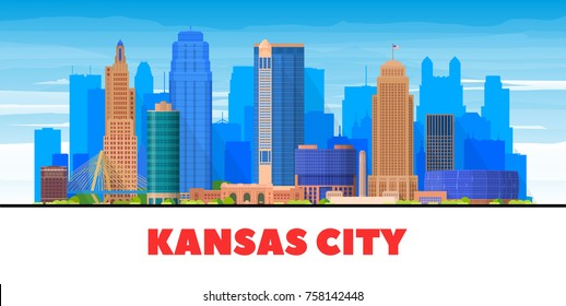 Kansas City ( USA ) Missouri skyline with panorama in white background. Vector Illustration. Business travel and tourism concept with modern buildings. Image for presentation, banner, web site.