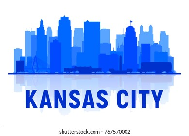 Kansas City ( USA ) Missouri skyline silhouette with panorama in white background. Vector Illustration. Business travel and tourism concept with modern buildings. Image for presentation, banner, web