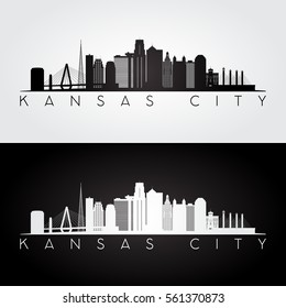Kansas City USA skyline and landmarks silhouette, black and white design, vector illustration.