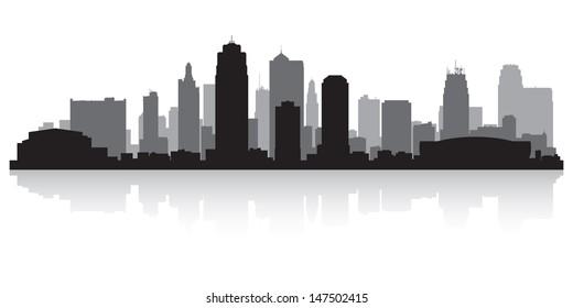 Kansas city USA skyline silhouette vector illustration