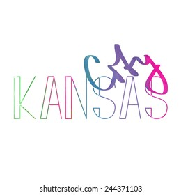 Kansas city watercolor lettering sign. Illustration made in vector.
