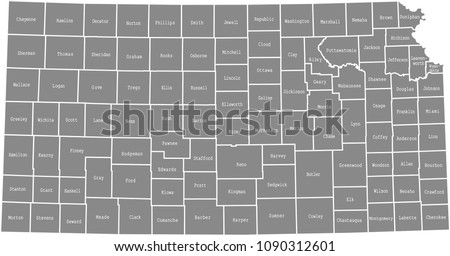 Kansas County Map Vector Outline Gray Stock Vector (Royalty Free ...