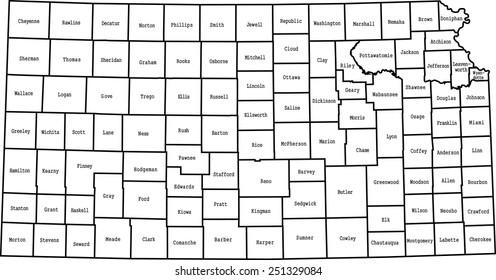 Kansas County Map Images, Stock Photos & Vectors | Shutterstock