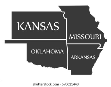 Kansas - Missouri - Oklahoma - Arkansas Map labelled black illustration
