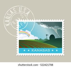 Kansas postage stamp design. Vector illustration of scenic landscape with grunge postmark on separate layer