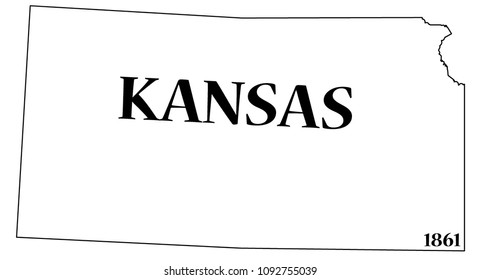 A Kansas state outline with the date of statehood isolated on a white background