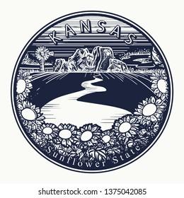 Kansas. Tattoo and t-shirt design. Welcome to Kansas (USA). Sunflower state slogan. Travel art concept