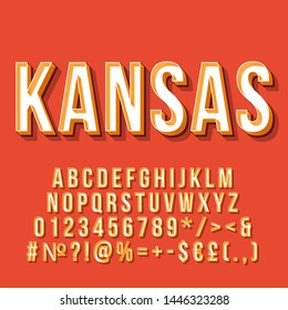 Kansas vintage 3d vector lettering. Retro bold font, typeface. Pop art stylized text. Old school style letters, numbers, symbols, elements pack. 90s, 80s poster, banner. Red color background