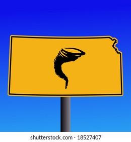 Kansas warning sign with tornado symbol on blue illustration