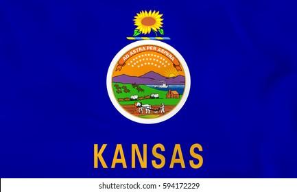 Kansas waving flag. Kansas state flag background texture.Vector illustration.