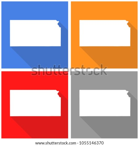 Kansas White Mapborder Flat Simple Style Stock Vector Royalty Free