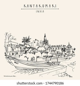 Kanyakumari, Tamil Nadu, South India. The southernmost point of India. Cityscape with fishing boats and a church. Vintage hand drawn touristic postcard. Vector