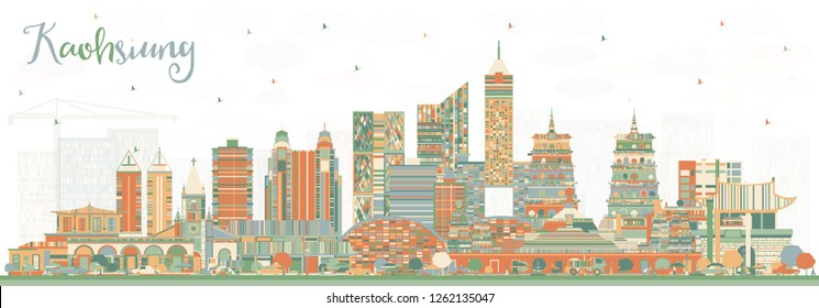 Kaohsiung Taiwan City Skyline with Color Buildings. Vector Illustration. Business Travel and Tourism Concept with Historic Architecture. Kaohsiung China Cityscape with Landmarks.