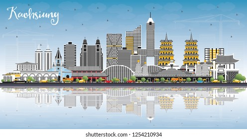 Kaohsiung Taiwan City Skyline with Gray Buildings, Blue Sky and Reflections. Vector Illustration. Travel and Tourism Concept with Historic Architecture. Kaohsiung China Cityscape with Landmarks.