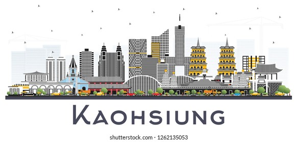 Kaohsiung Taiwan City Skyline with Gray Buildings Isolated on White. Vector Illustration. Business Travel and Tourism Concept with Historic Architecture. Kaohsiung China Cityscape with Landmarks.
