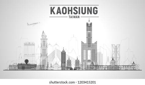 Kaohsiung Taiwan line skyline with panorama in sky background. Vector Illustration. Business travel and tourism concept with modern buildings. Image for banner or web site.