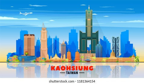 Kaohsiung Taiwan skyline with panorama in sky background. Vector Illustration. Business travel and tourism concept with modern buildings. Image for banner or web site.