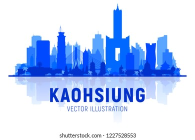 Kaohsiung Taiwan skyline silhouette with panorama in sky background. Vector Illustration. Business travel and tourism concept with modern buildings. Image for banner or web site.