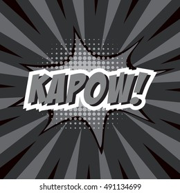 KAPOW!, colorful speech bubble and explosions in pop art style. Elements of design comic books.Vector illustration