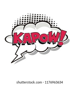 kapow comic book speech bubble with halftone
